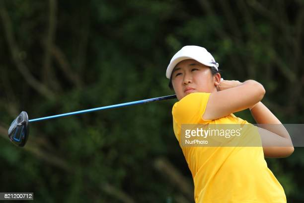 Jing Yan of China follows her shot from the 4th tee during the second round of the Marathon LPGA Classic golf tournament at Highland Meadows Golf...