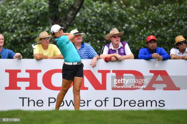 Jing Yan of China plays the shot during the Honda LPGA Thailand at Siam Country Club on February 22 2018 in Chonburi Thailand