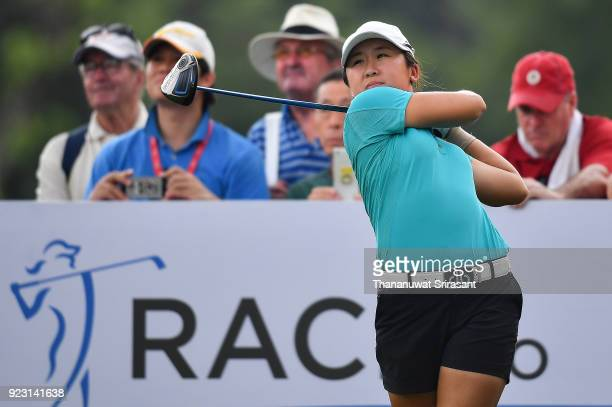 Jing Yan of China tee off at 15th hole during the Honda LPGA Thailand at Siam Country Club on February 22 2018 in Chonburi Thailand