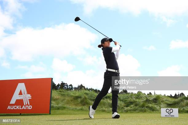 Jing Yan of China tees off during day three of the New Zealand Women's Open at Windross Farm on September 30 2017 in Auckland New Zealand