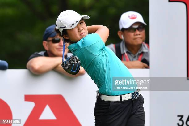 Jing Yan of China tees off during the Honda LPGA Thailand at Siam Country Club on February 22 2018 in Chonburi Thailand
