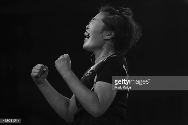 Jing Yi Tee of Malaysia celebrates victory in her women's singles badminton quarter-final match at Emirates Arena during day nine of the Glasgow 2014...