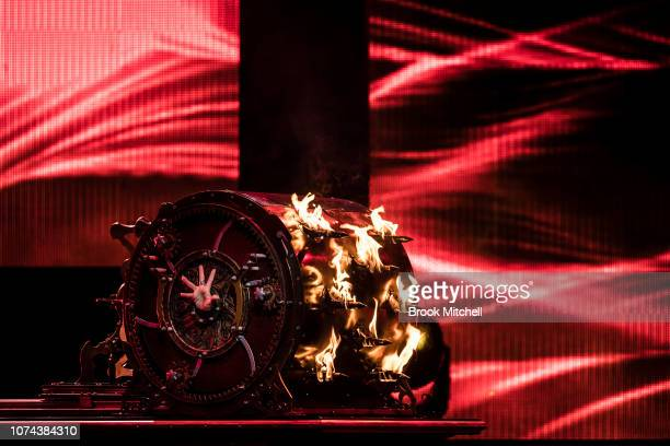 Jinger Leigh performs an illusion on stage during a media call for The Illusionists Direct From Broadway at Sydney Opera House on December 19 2018 in...