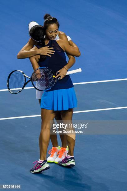 JingJing Lu and Shuai Zhang of China celebrate winning the doubles Round Robin match of the WTA Elite Trophy Zhuhai 2017 against Xinyu Jiang and...