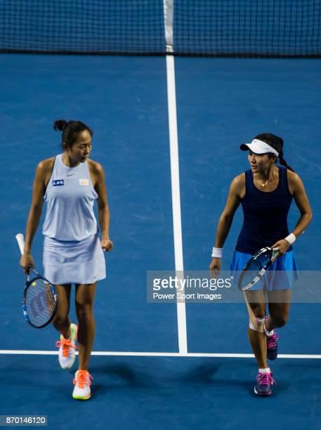 JingJing Lu and Shuai Zhang of China talk during the doubles Round Robin match of the WTA Elite Trophy Zhuhai 2017 against Xinyu Jiang and Qianhui...