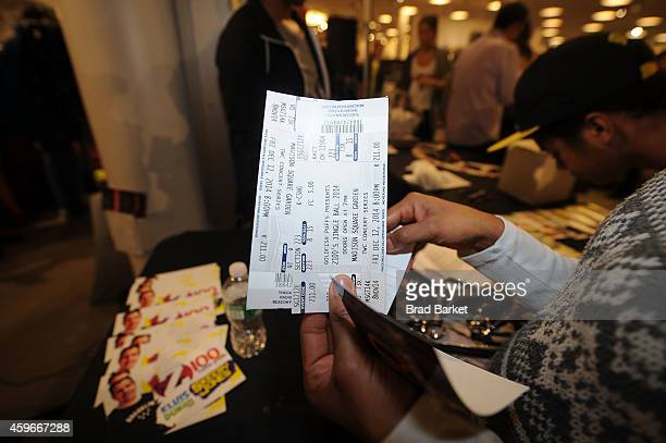 Jingle Ball tickets are seen at Macy's Herald Square New York Jingle Ball Ticket Giveaway at Macy's Herald Square on November 27 2014 in New York City