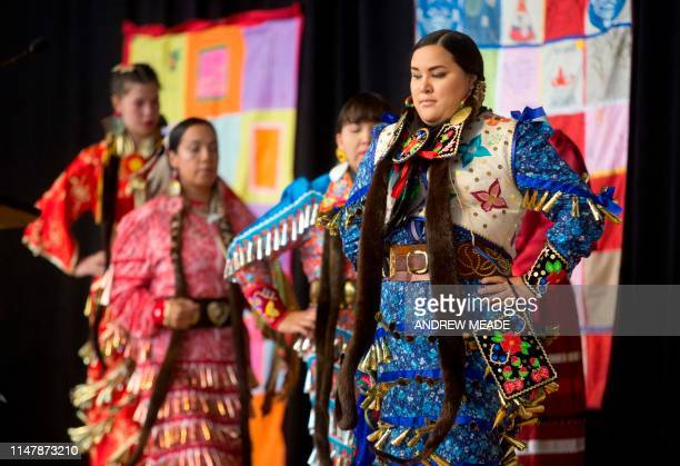 Jingle Dancers perform at the closing ceremony marking the conclusion of the National Inquiry into Missing and Murdered Indigenous Women and Girls at...