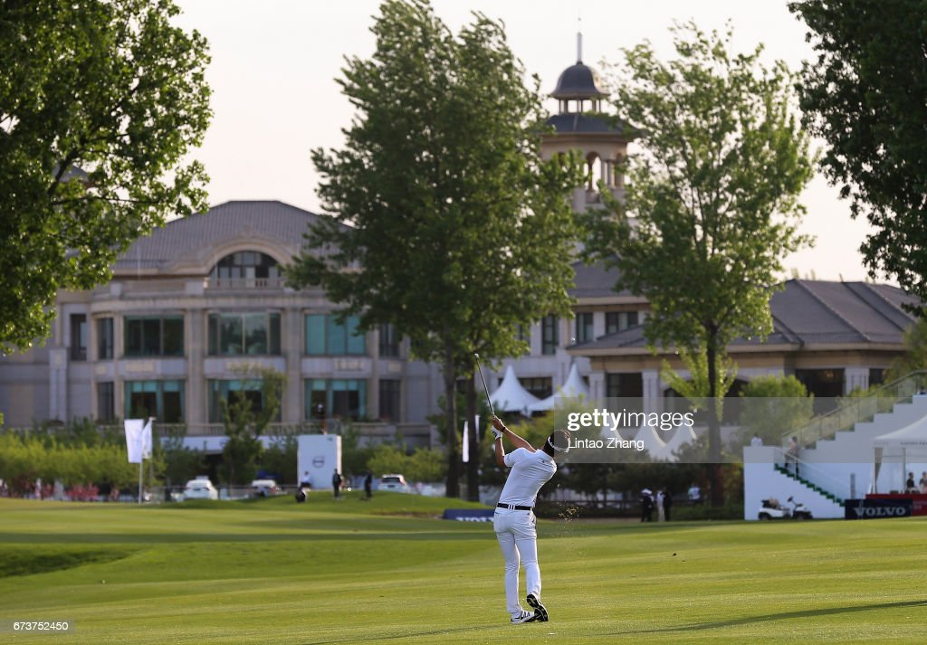 Jin-Ho Choi of South Korea plays a shot during the first round of the 2017 Volvo China open at Topwin Golf and Country Club on April 27, 2017 in Beijing, China.