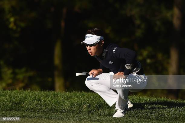 Jinho Choi of South Korea prepares to putt on the 2nd hole during the third round of the CJ Cup at Nine Bridges on October 21 2017 in Jeju South Korea