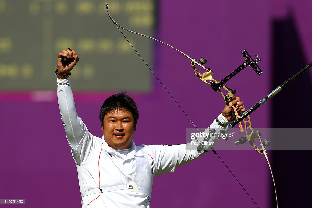 Jinhyek Oh of Korea celebrates winning the Men's Individual Archery Gold Medal Match against Takaharu Furukawa of Japan on Day 7 of the London 2012 Olympic Games at Lord's Cricket Ground on August 3, 2012 in London, England.