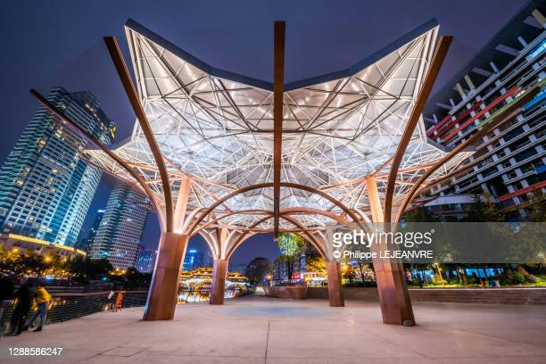 jinjiang yinyue place with music pavilion illuminated at night in chengdu - パビリオン ストックフォトと画像