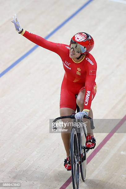 Jinjie Gong and Tianshi Zhong of Team China celebrates setting the new world record of 31928 after competing in the Women's Team Sprint First Round...