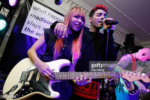 JinJoo Joe Jonas and Cole Whittle of DNCE perform onstage at the after party celebrating DIESEL's Madison Avenue flagship on February 13 2016 in New...