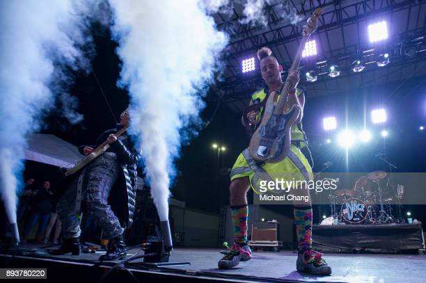 JinJoo Lee and Cole Whittle of DNCE perform during Base*FEST Powered by USAA on December 15 2017 at Naval Air Station Pensacola Florida