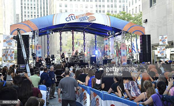JinJoo Lee Jack Lawless Joe Jonas and Cole Whittle of the band DNCE perform on the Citi Concert Series on TODAY at Rockefeller Center Plaza on August...