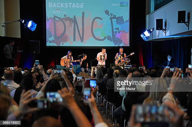 JinJoo Lee Jack Lawless Joe Jonas Cole Whittle of the band DNCE perform onstage during Backstage with Citi DNCE at the Citigroup Building on August...