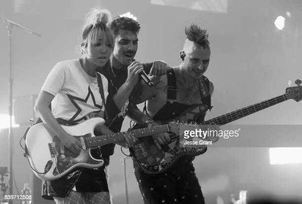 JinJoo Lee Joe Jonas and Cole Whittle of DNCE perform onstage during MTV Taco Bell present 'Best New Artist' Night for 'VMA Weekend' at Avalon on...