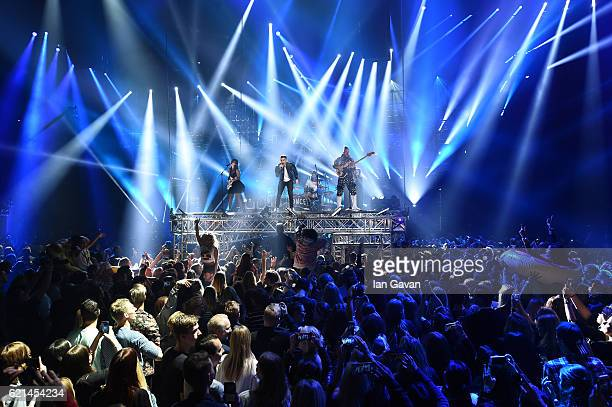 JinJoo Lee Joe Jonas Jack Lawless and Cole Whittle perform on stage at the MTV Europe Music Awards 2016 on November 6 2016 in Rotterdam Netherlands