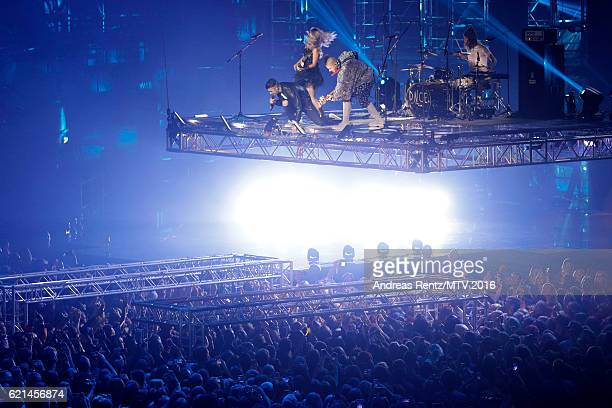 JinJoo Lee, Joe Jonas, Jack Lawless and Cole Whittle perform on stage at the MTV Europe Music Awards 2016 on November 6, 2016 in Rotterdam,...