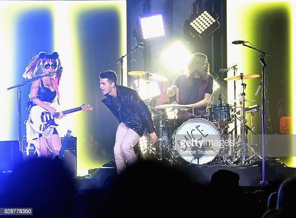 JinJoo Lee singer Joe Jonas and Jack Lawless performs during opening night of the Selena Gomez 'Revival World Tour' at the Mandalay Bay Events Center...