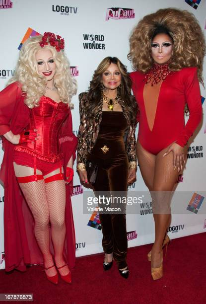 Jinkx Monsoon La Toya Jackson and Roxxxy Andrews attends the Finale Reunion Coronation Taping Of Logo TV's 'RuPaul's Drag Race' Season 5 on May 1...