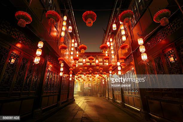 jinli street, chengdu, sichuan, china - chinese new year stock pictures, royalty-free photos & images