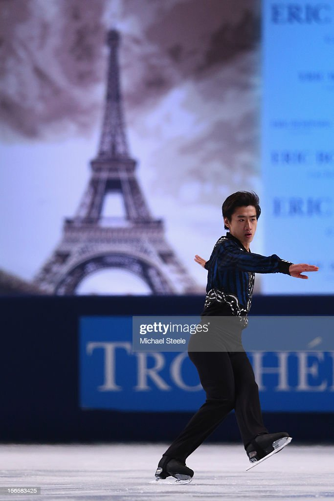 Jinlin Guan of China during the Men's Free Skating Program on day two of the ISU Grand Prix of Figure Skating Trophee Eric Bompard at Omnisports Bercy on November 17, 2012 in Paris, France.
