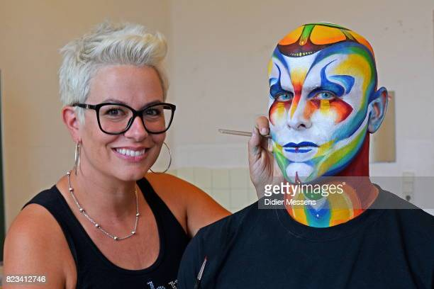 Jinny of the company Mehron gives a Cirque Du Soleil facepaint workshop as part of the World Bodypainting Festival 2017 on July 26 2017 in...