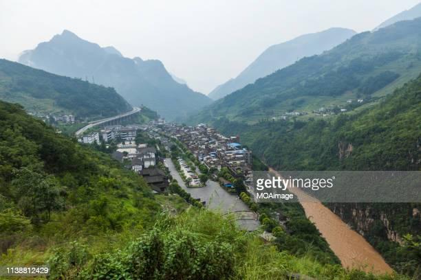 jinshahe river,zhaotong,yunnan,china - provinz yunnan stock-fotos und bilder