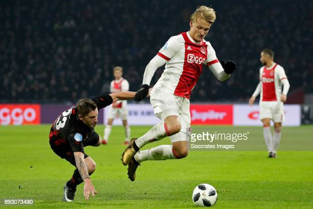 Jinty Caenepeel of Excelsior Kasper Dolberg of Ajax during the Dutch Eredivisie match between Ajax v Excelsior at the Johan Cruijff Arena on December...