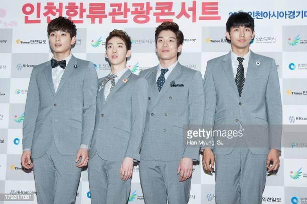 Jinwoon Jo Kwon Shim Changmin and Seulong of South Korean boy band 2AM attend the '2013 Incheon Korean Music Wave' Photocall at Incheon Munhak...