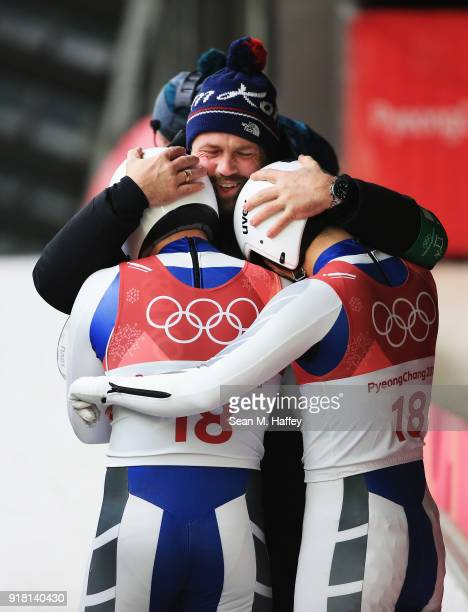 Jinyong Park and Jung Myung Cho of Korea react following their the Luge Doubles run 2 on day five of the PyeongChang 2018 Winter Olympics at the...