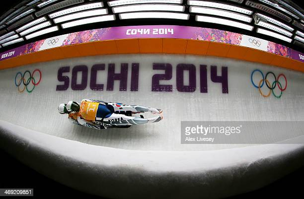 Jinyong Park and Jung Myung Cho of South Korea makes a run during the Luge Relay on Day 6 of the Sochi 2014 Winter Olympics at Sliding Center Sanki...