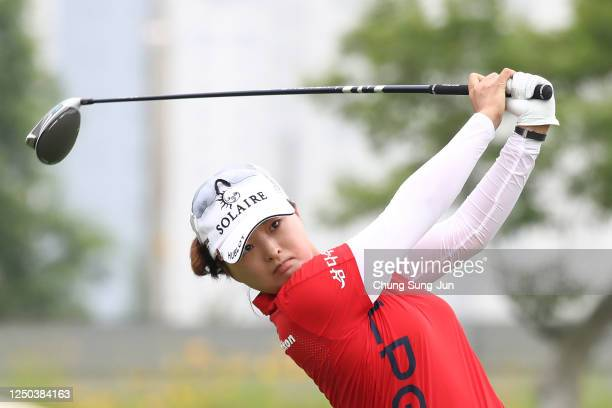 JinYoung Ko of South Korea hits a tee shot on the 1st hole during the first round of the KIA Motors Korea Women's Open at the Bears Best CheongNa on...