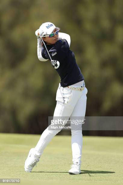 JinYoung Ko of South Korea hits her second shot on the 2nd hole during day three of the ISPS Handa Australian Women's Open at Kooyonga Golf Club on...