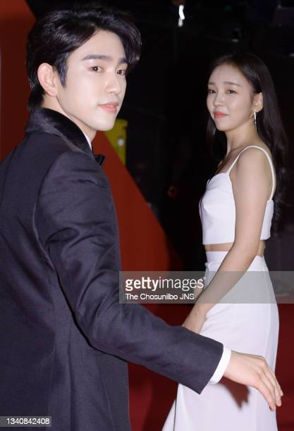 Jinyoung of GOT7 and Baek A-Yeon attend photo call of 2019 Busan International Film Festival Opening Ceremony at Busan Cinema Center on October 03,...