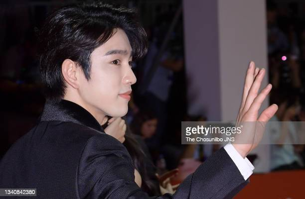 Jinyoung of GOT7 attends photo call of 2019 Busan International Film Festival Opening Ceremony at Busan Cinema Center on October 03, 2019 in Seoul,...