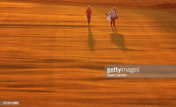 Jinyoung Pak of Korea walks down the 18th hole during the first round of the Ricoh Women's British Open at Royal Liverpool Golf Club on September 13,...