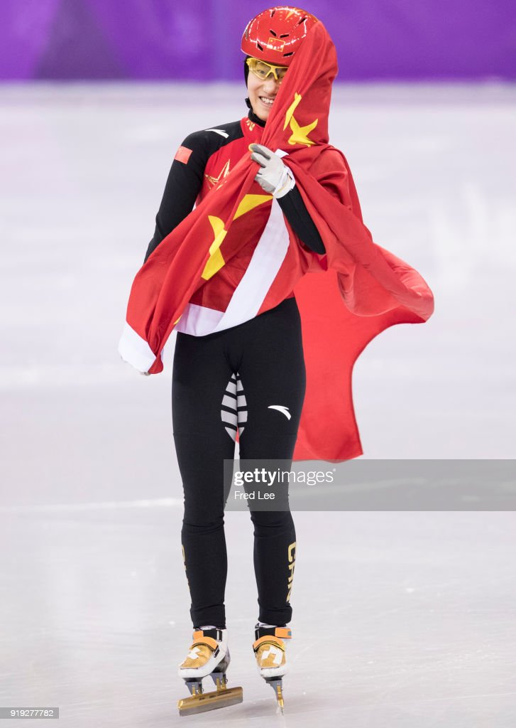 Jinyu Li of China celebrates after winning the silver medal, respectively during the Short Track Speed Skating Ladies' 1500m Final A on day eight of the PyeongChang 2018 Winter Olympic Games at Gangneung Ice Arena on February 17, 2018 in Gangneung, South Korea.