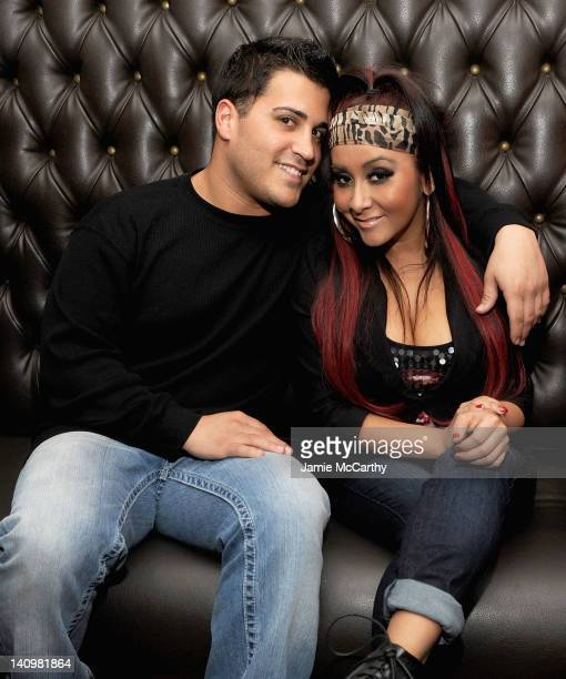 Jionni LaValle and Nicole 'Snooki' Polizzi attend the Team Snooki Boxing press conference at McFadden's Saloon on January 12 2012 in New York City...