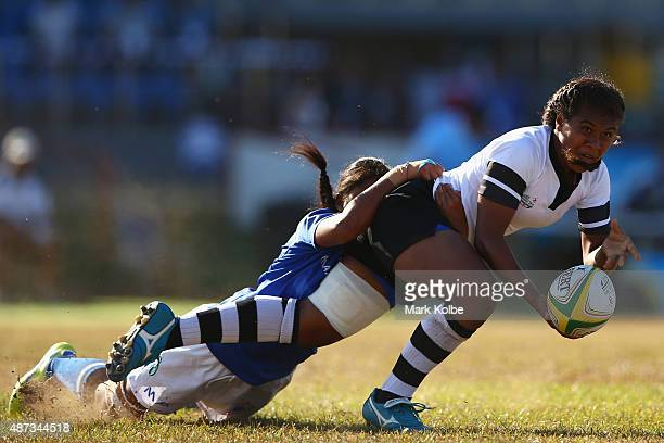 Jiowana Sauto of Fiji passes during the girls match between Samoa and Fji in the rugby sevens competition at the Apia Park Sports Complex on day...