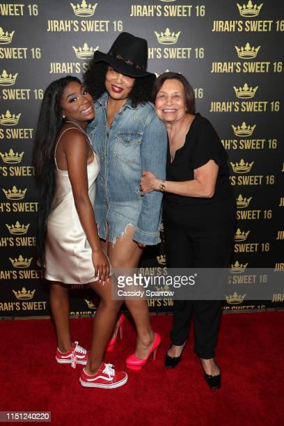 Jirah Mayweather Josie Harris and Elsie Harris attend Jirah Mayweather'sSweet 16 Birthday Party at Hyatt In Valencia on June 20 2019 in Valencia...