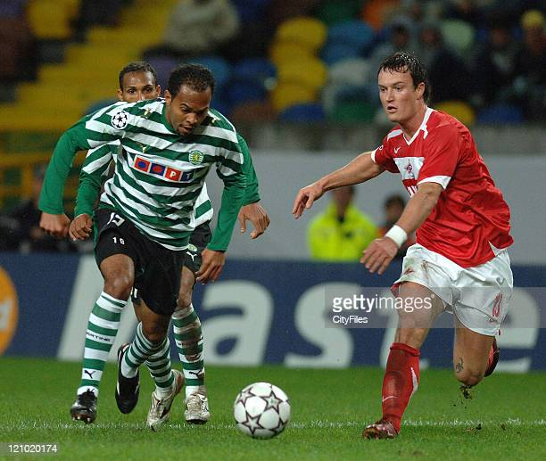 Jiranek and Alecsandro during a UEFA Champions match between Spartak Moscow and Sporting in Libson Portugal on December 5 2006
