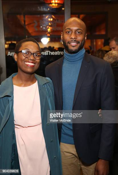 Jireh Breon Holder and guest attend the Broadway Opening Night Performance of 'John Lithgow Stories by Heart' at the American Airlines Theatre on...