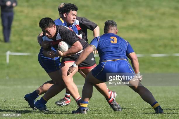 Jireh Tiumalu of Counties Manukau in action during the Jock Hobbs Memorial National U19 Tournament on September 12 2018 in Taupo New Zealand