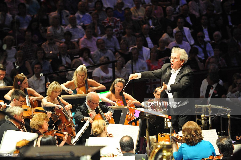 Jiri Belohlavek CBE performs on stage with the BBC Symphony Orchestra during the Last Night Of The Proms at Royal Albert Hall on September 8, 2012 in London, United Kingdom.
