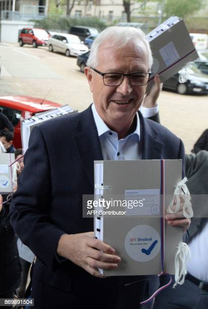Jiri Drahos Czech former Czech Science Academy head and independant candidate for the presidential election arrives at the ministry of the interior...