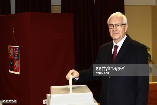 Jiri Drahos former head of the Czech Academy of Sciences and candidate for the upcoming presidential election casts his ballot during the first round...