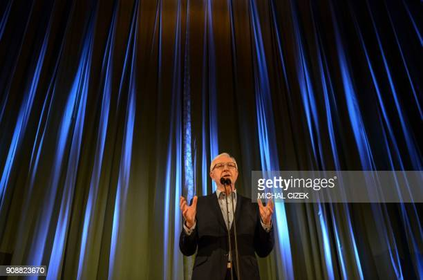 Jiri Drahos former head of the Czech Academy of Sciences and candidate for the presidential election delivers a speech to his supporters on January...