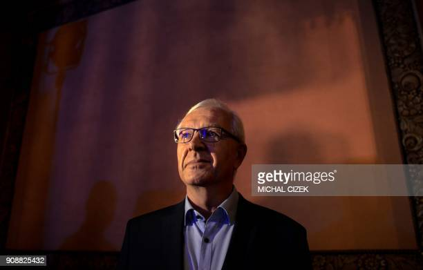 Jiri Drahos former head of the Czech Academy of Sciences and candidate for the presidential election waits to deliver a speech to his supporters on...